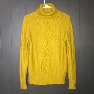 J.Crew Chunky Bright Gold Cable Knit Sweater